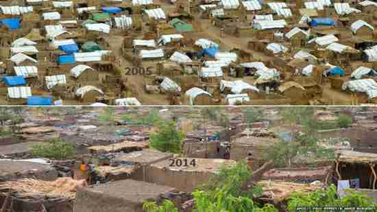 Darfur refugee camp - changes from 2005 to 2014. Tarpaulin roofs have been covered with mud bricks as homes have morphed into permanent settlements, packed between narrow alleys. (BBC)