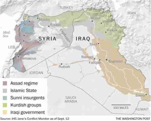 Map of Syria and Iraq, showing who's in control of different regions (WaPost)