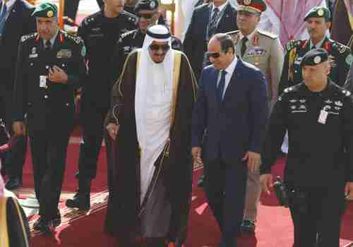 From 2015: Saudi King Salman bin Abdulaziz, left, walks with Egypt's President Abdel Fattah al-Sisi in Riyadh (Reuters)