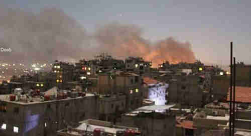 Huge explosions could be seen above the buildings of Damascus