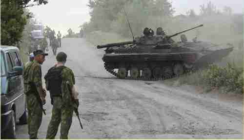 Soldiers and tank in eastern Ukraine